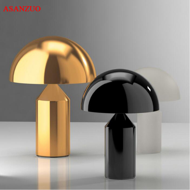Black White Gold Table Lamp Creative Mushroom For Bedroom Study Living Room Decoration Desk