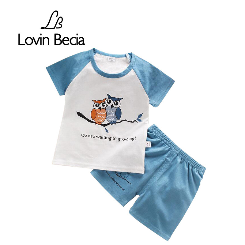 2 pcs/sets Summer Newborn sets Baby T-shirt pants Kids boys sports set girls clothes children clothing cotton shorts Casual suit купить