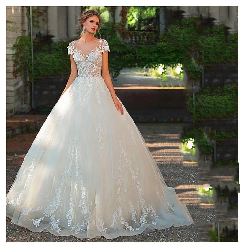 LORIE A Line Wedding Dress 2019 Sexy Appliqued Lace  Bridal Dress Boho V Neck Floor Length Wedding Dress Bride Gowns