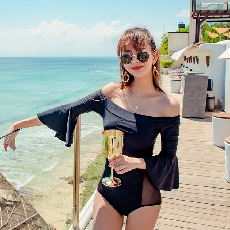 1 Piece Swimsuit Women One Push Up Bikini 2019 Lace Underwire Bracket Horn Long Sleeve Sexy Patchwork Polyester Sierra Surfer