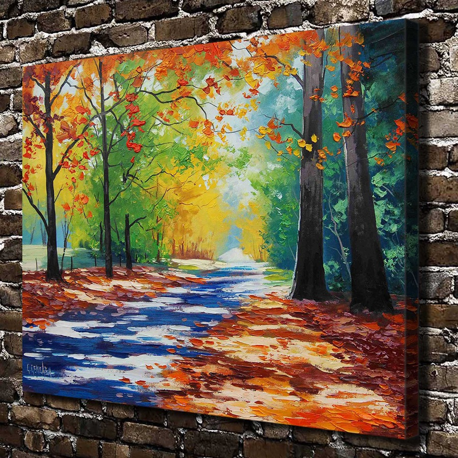 C_X365 Natural Scenery Colorful Tree Path. HD Canvas Print Home ...