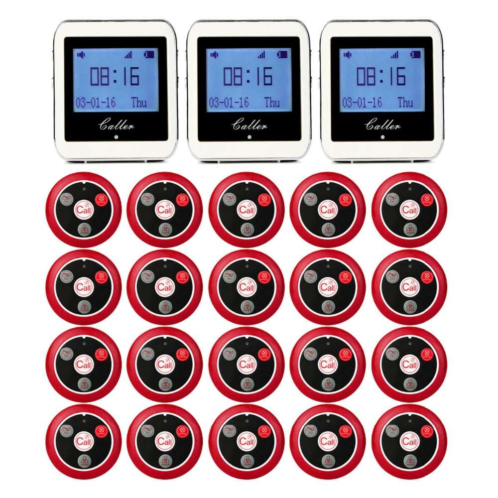 20 Call Transmitter Button+3 Watch Receiver Restaurant Pager Wireless Waiter Calling System Restaurant Equipment 433MHz F9408 433mhz wireless pager calling system restaurant equipment for factory coffee watch wrist receiver 12pcs call button f3300a