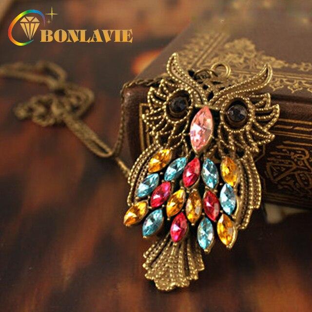 2017 New vintage inspiration colorful rhinestones bronze owl pendant necklace lo