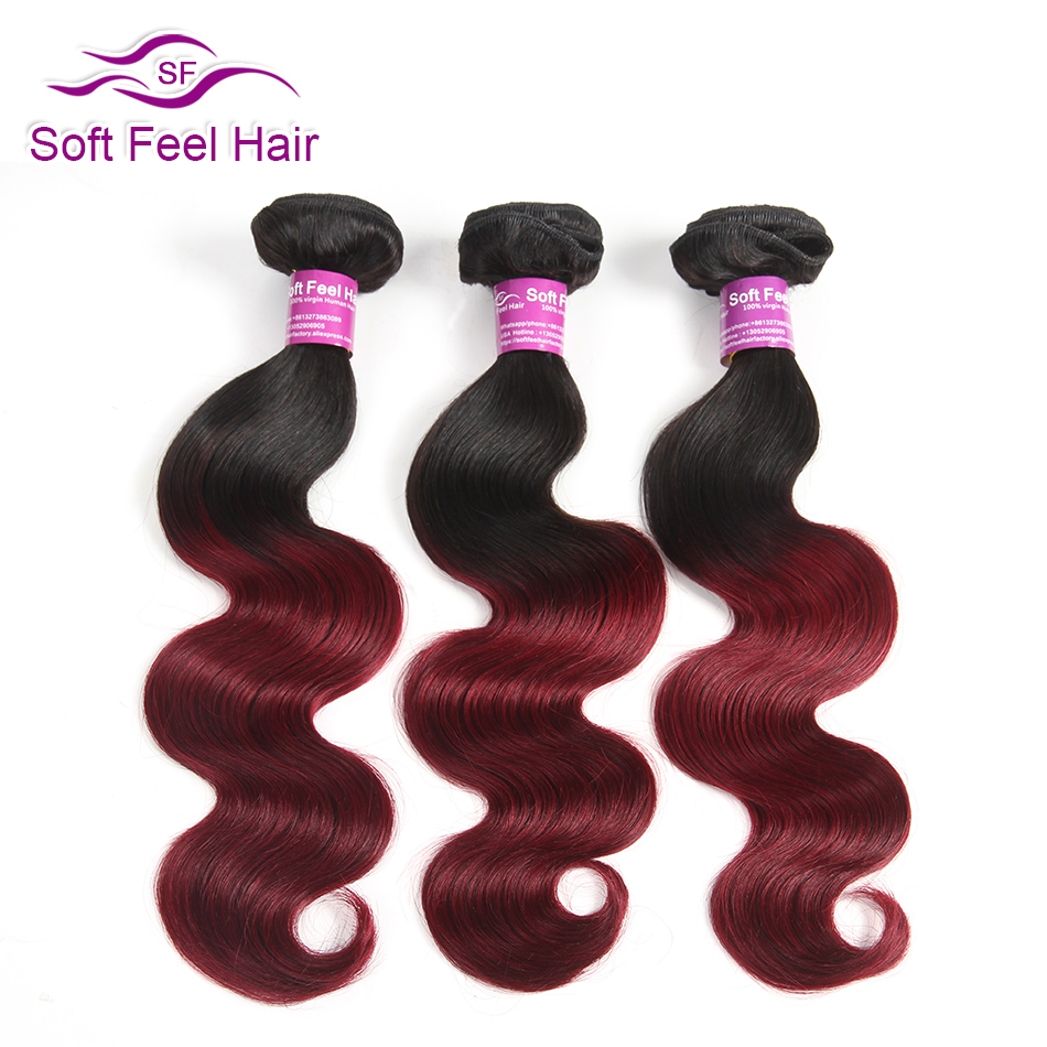 Soft Feel Hair 1 Piece Ombre Brazilian Body Wave Hair Weave Bundles 1B Burgundy Ombre Human