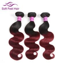 Мягкость волос цельнокроеное платье Ombre бразильский Для тела волна пучки волос плетение 1B/бордовый Ombre человеческих Наращивание волос 99J красный не Волосы Remy