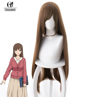 ROLECOS Anime Domestic na Kanojo Cosplay Hair Hina Tachibana 80cm Long Brown Color Heat Resistant Synthetic Hair Cosplay Hair