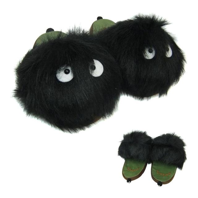 HOT Anime My Neighbor Totoro Ghibli Adult Plush Figure Doll Slipper Black Totoro Dust Bunny Slippers