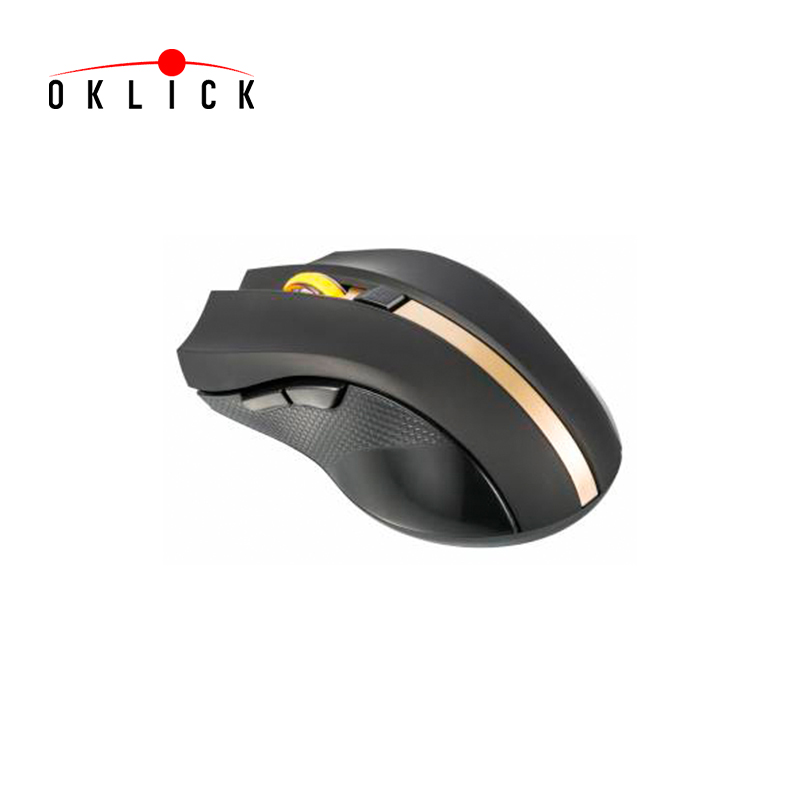 Mouse Oklick 495MW, optical, USB, black/gold Officeacc juexie lightning panther g6 usb 2 0 1000 1600 2400dpi wired led optical gaming mouse black