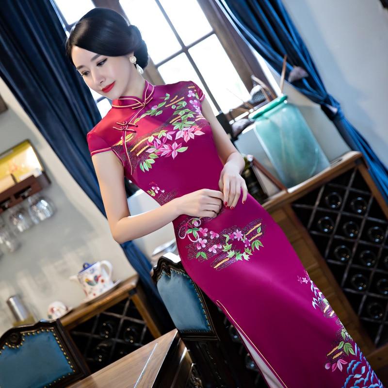 Nouveauté mode femmes Long Cheongsam Top vente chinois femme rayonne Qipao robe Vestidos taille S M L XL XXL XXXL 115926