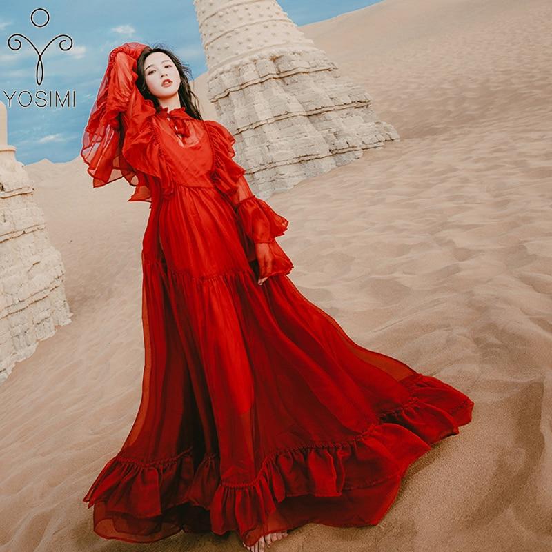 YOSIMI 2019 été femmes robe dames robe de soirée Maxi en mousseline de soie longue robe à manches longues rouge femme robe de soirée robe de boîte de nuit - 4