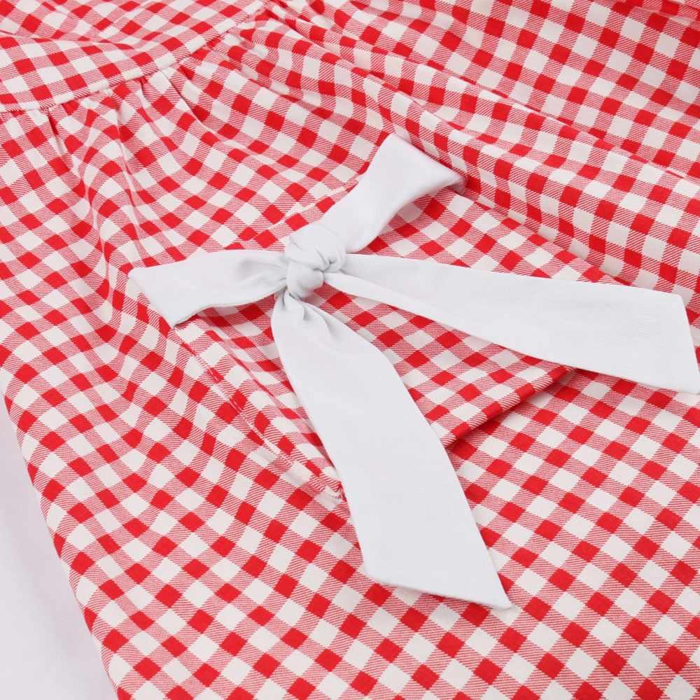 Joineles/большие размеры; винтажные вечерние платья для женщин; летние клетчатые платья в клетку с бантом и карманами; платья трапециевидной формы
