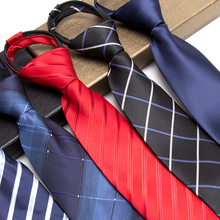 IHGSNMB Lazy Ties for Men Fashion Solid Zip Necktie Dress Black Business Wedding Jacquard Bowtie Male Shirt Gravata Tie