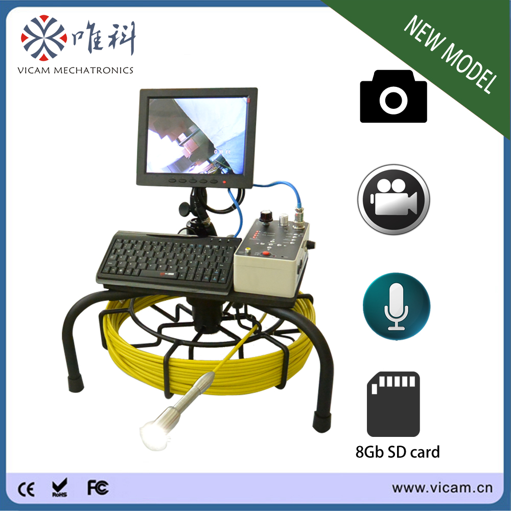 8 inch LCD screen portable handheld plumbing drain camera sewer camera for sale with 50m cable and DVR recording function