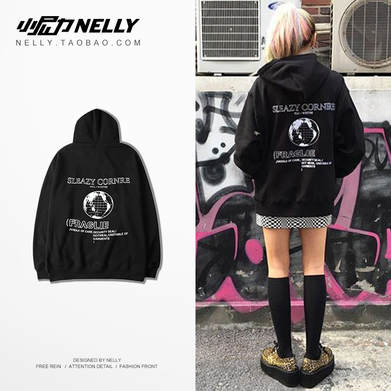 NELLY 2019 Autumn Winter European style Earth print Long sleeve Hoodie Women Cotton Hip hop Warm Fashion design Sweatshirt(China)