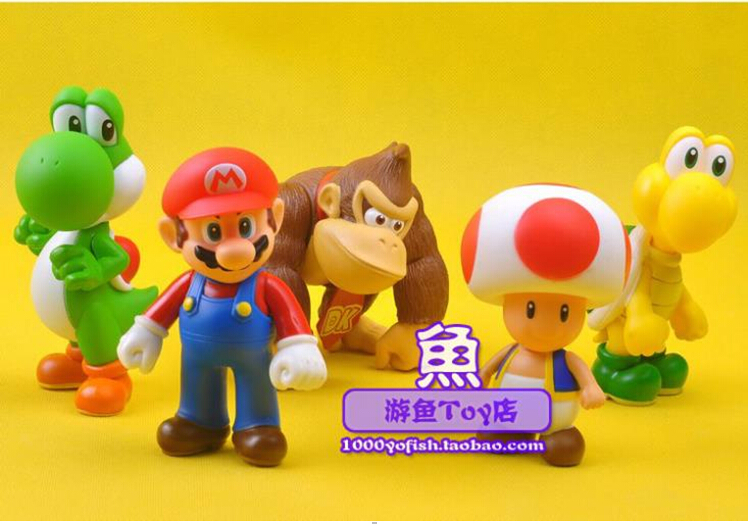 5pcs/set Super Mario Bros Mario Yoshi Donkey Kong Toad Koopa PVC Action Figure Model Toys Dolls 12cm SM008 super mario bros action pvc figure toys 2 options 9pcs set 12cm height for xmas gift