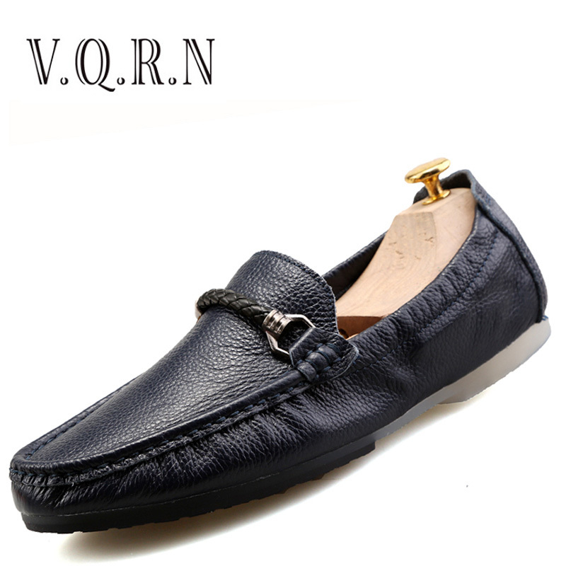 VQRN Men Loafers 2017 Summer Mens Soft Boat Shoes Casual Breathable Leather Driving Shoes Flats branded men s penny loafes casual men s full grain leather emboss crocodile boat shoes slip on breathable moccasin driving shoes