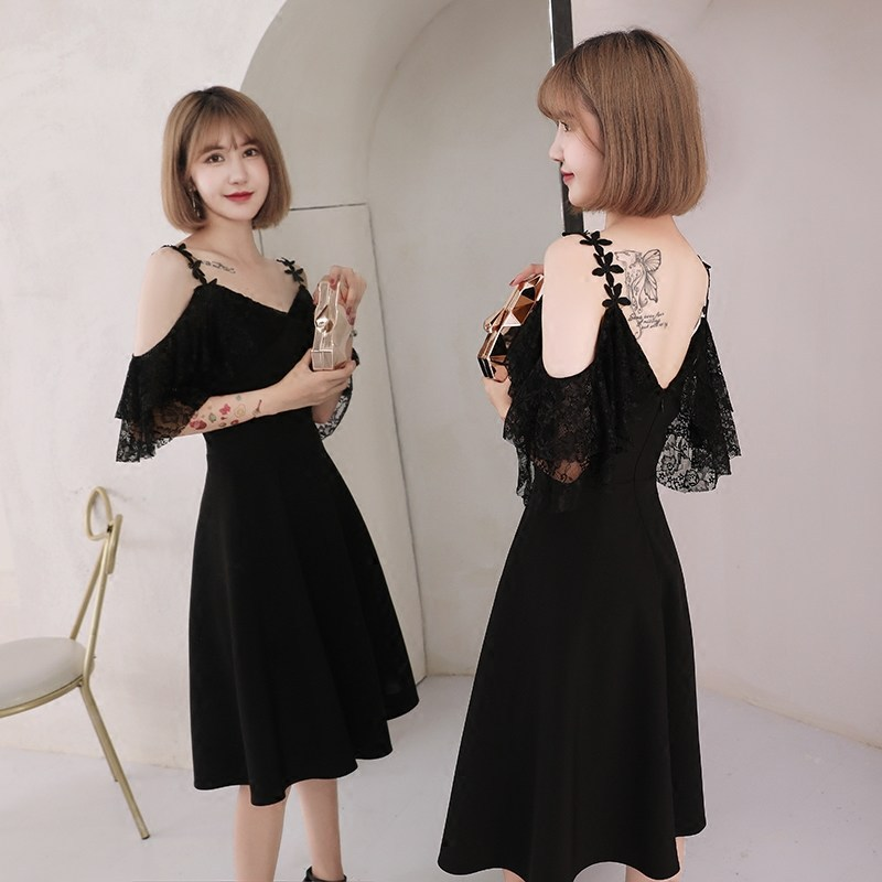 Half sleeve   Cocktail     Dresses   Elegant Flowers Party Formal   Dress   Black Zipper Spaghetti Strap A-line Knee Length Prom Gowns E308
