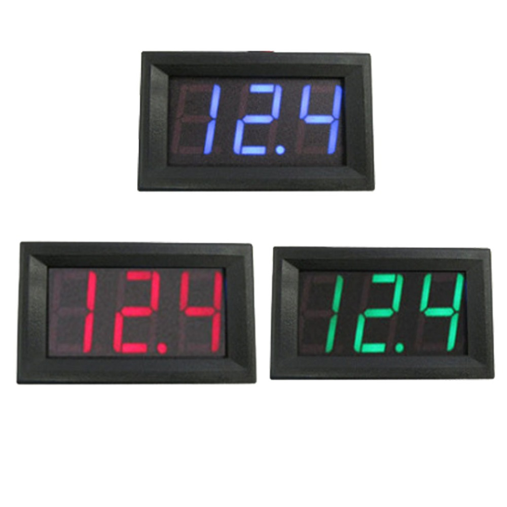 <font><b>10pcs</b></font> Digital <font><b>Voltmeter</b></font> DC 4.5V to 30V Digital <font><b>Voltmeter</b></font> Voltage Panel Meter Red/Blue/Green For Electromobile Motorcycle Car image
