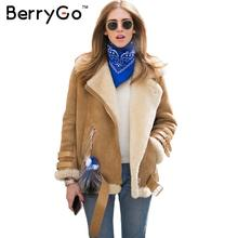 BerryGo Winter thick lambswool suede jacket women 2016 Warm belt female jacket coat Long sleeve autumn black jacket outwear