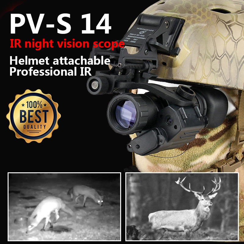 New Updated PVS-14 IR Helmet Attachable Night Vision Scope For Hunting Wargame CL27-0008