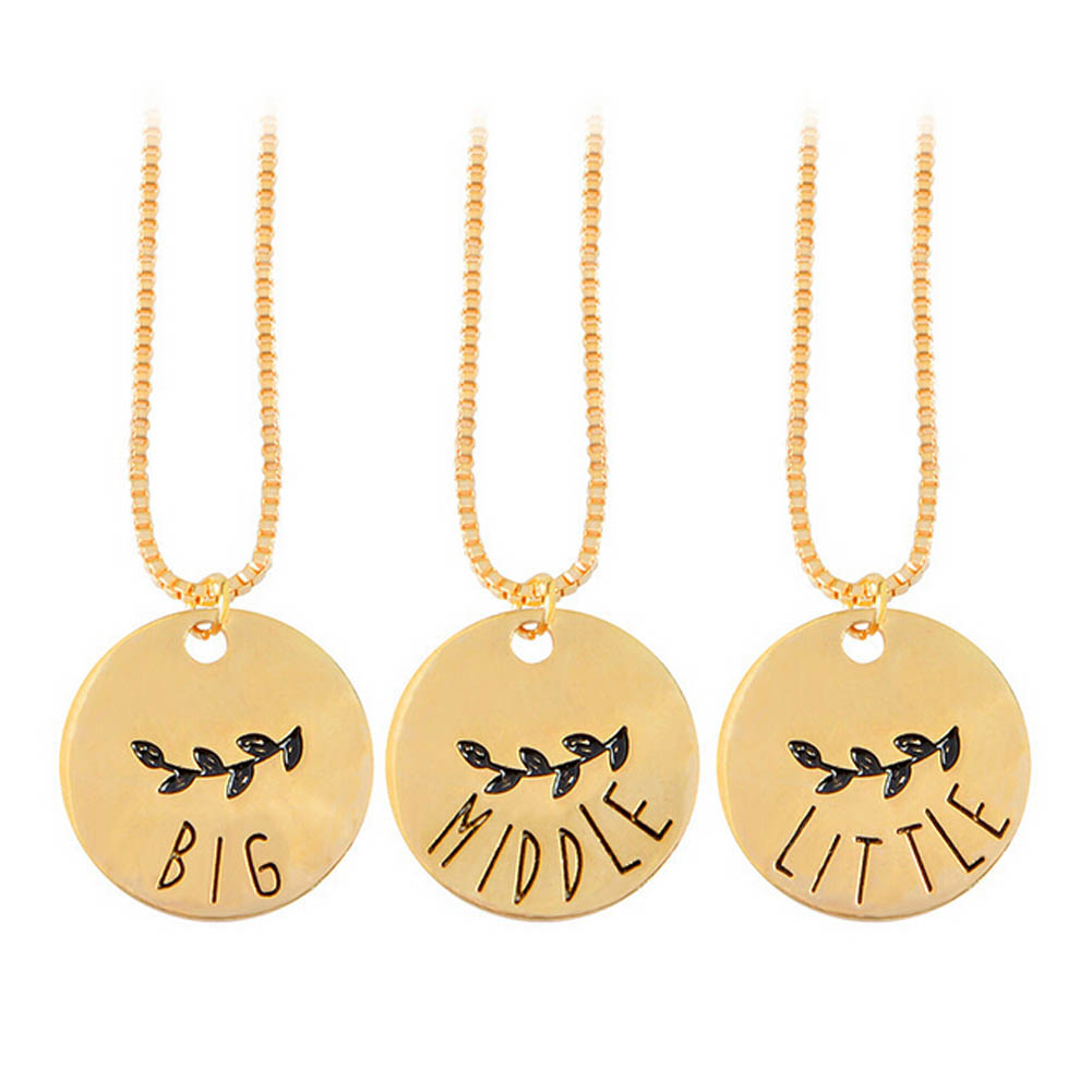New Hot Sale Necklace BIG MIDDLE LITTLE Sister Necklace Set 3 Pieces Personalized Sister Gifts Big Sis,mid Sis,lil Sis
