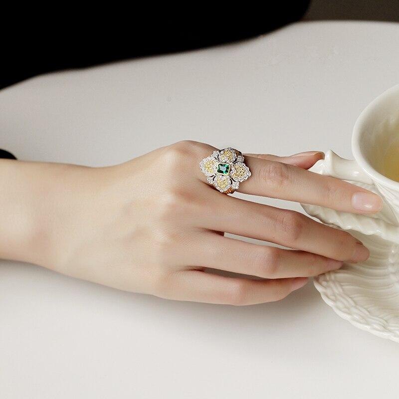 CMajor bijoux en argent massif Vintage palais croix anneaux floraux avec bague en pierre verte pour les femmes - 6