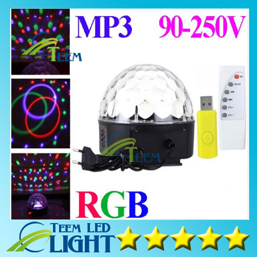 HOT RGB MP3 Magic Crystal Ball LED Music stage light 18W Home Party disco DJ party Stage Lights lighting + U Disk Remote Control new arrival rgb led mp3 crystal magic ball stage effect light dj club disco party lighting music with usb disk remote control