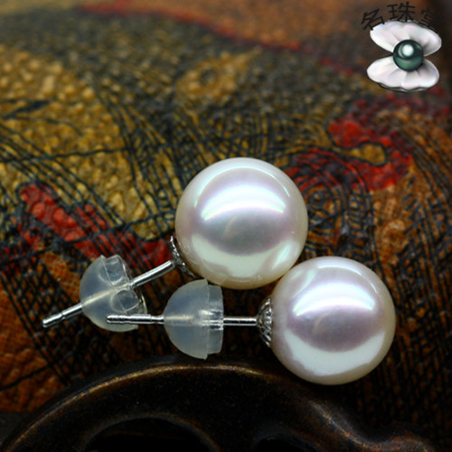 925 silver real natural big Akoya natural seawater pearl earrings earrings 8-8.5mm Japan pearl light circle мышь canyon cne cmsw03b black 8ycnecmsw03b