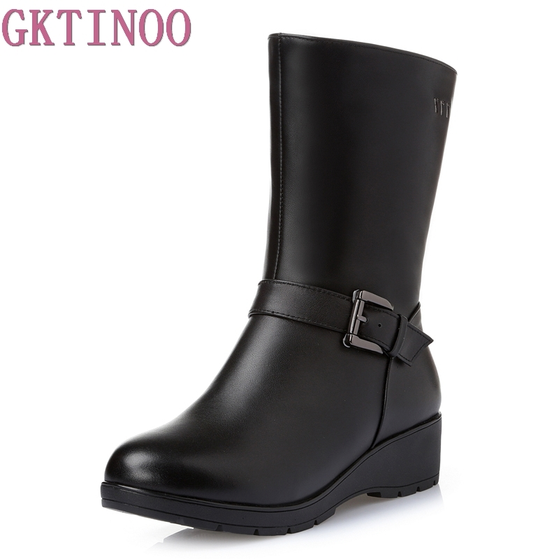 Women Boots Winter 2019 Square Heel Ladies Boots Genuine Leather Mid Calf Boots Casual Ladies Shoes