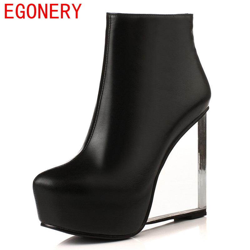 EGONERY shoes 2017 new arrival women ankle boots modern round toe side zipper platform fashion boots women fashion wedges shoes new arrival women shoes comfortable patnet leather round toe slip on for women mid calf boots side zipper lady punk shoes red