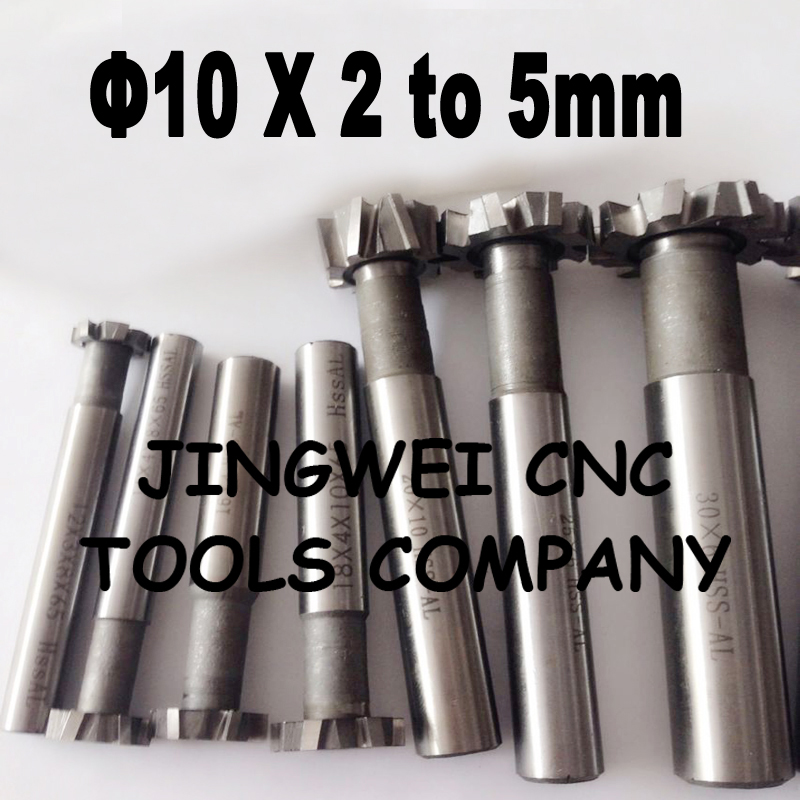 HSS T slot milling cutter 10mm dia x 2,3,4,5mm with straight shank milling cutter 14mm clamp dia straight spring collet