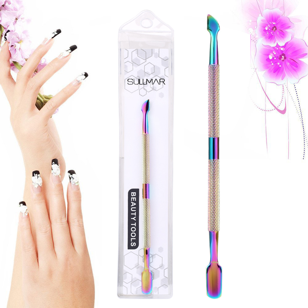 ELECOOL Double Head Stainless Steel Colorful Cuticle Nail Pusher Manicure Nail Care Pedicure Tool Dead Skin Removal illusory