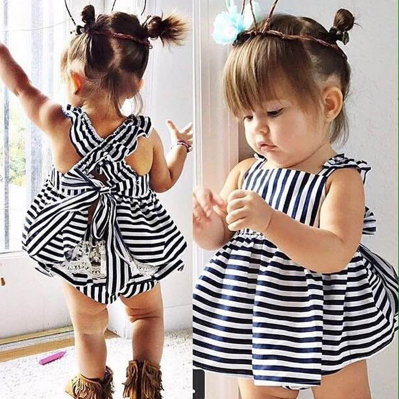 New Backless Dress Bow Cotton Briefs 2Pcs Set Clothing Girl Baby Girls Clothes Sets Summer Sunsuit Outfit Stripe kids Clothing 2pcs children outfit clothes kids baby girl off shoulder cotton ruffled sleeve tops striped t shirt blue denim jeans sunsuit set