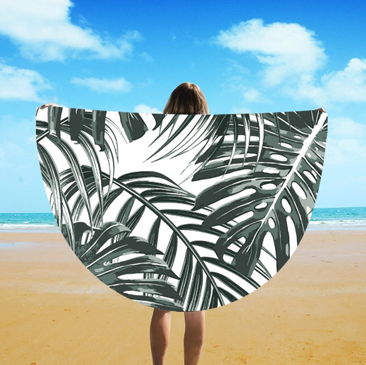 2019 Foreign Trade Manufacturers Wholesale Imitation Silk Round Tassel Beach Towel St06-132