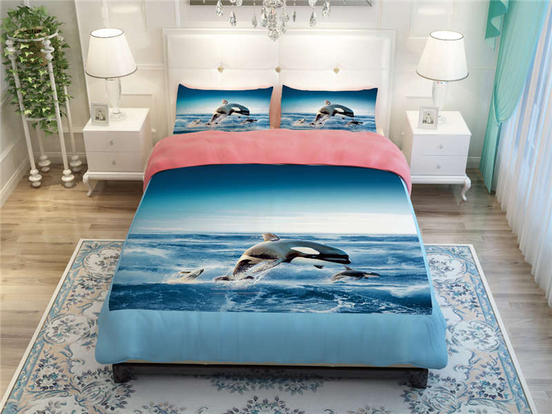 blue sea ocean whale shark scenic bedding bed comforters duvet cover set adult twin full