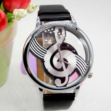 NEW HOT Girls Clock Hour Happy Gift Cool Watch Retro Vogue Women Watches Note Music Notation Leather Quartz Wristwatch Lady