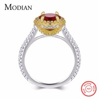Modian 2017 Style Luxury Brand Solid 925 Sterling Silver Wedding Ring Classic Gold White Color Red