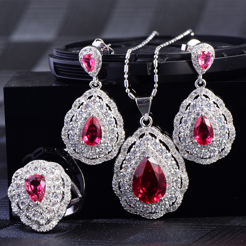 RainMarch Cubic Zirconia Earring Ring Necklace Jewelry Sets For Women Engagement Water Drop Pendant Necklace Party Jewelry graceful rhinestone alloy water drop necklace jewelry for women