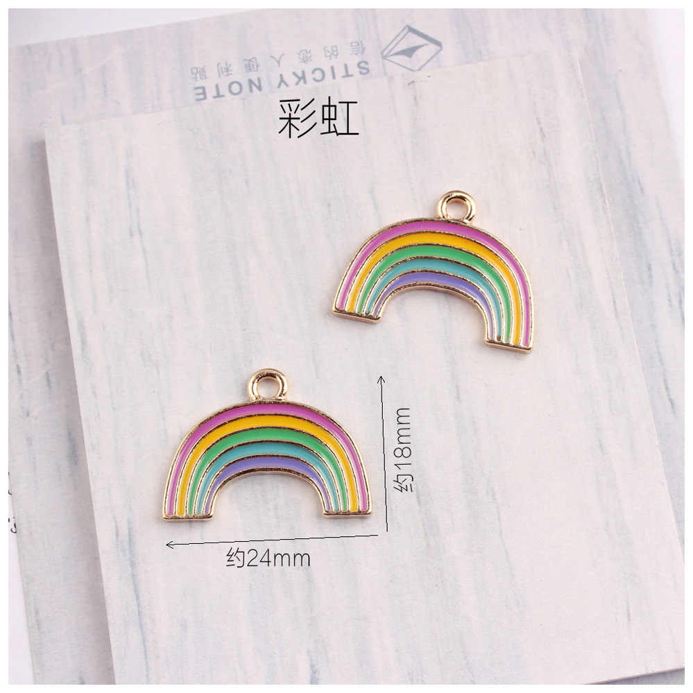 10 Cái/lốc Vàng Màu Sắc Dễ Thương Trái Tim Chậu Trồng Rainbow Men Charm Mặt Dây Chuyền Cho Vòng Tay Bông Tai Móc Khóa
