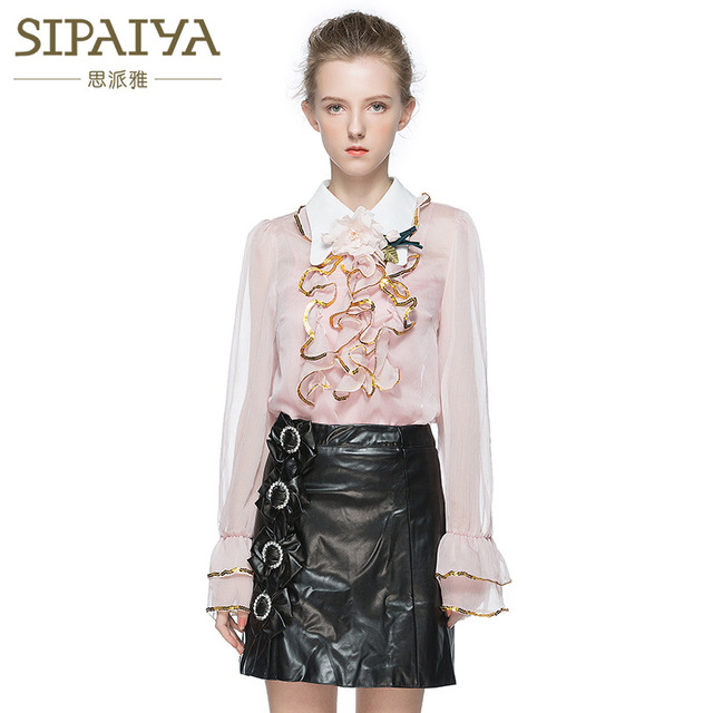 Spring Summer Perspective Sexy Ruffles Blouse Runway Brand Loose Peter pan Collor Chiffon Sequined Shirts See Through SANBLB