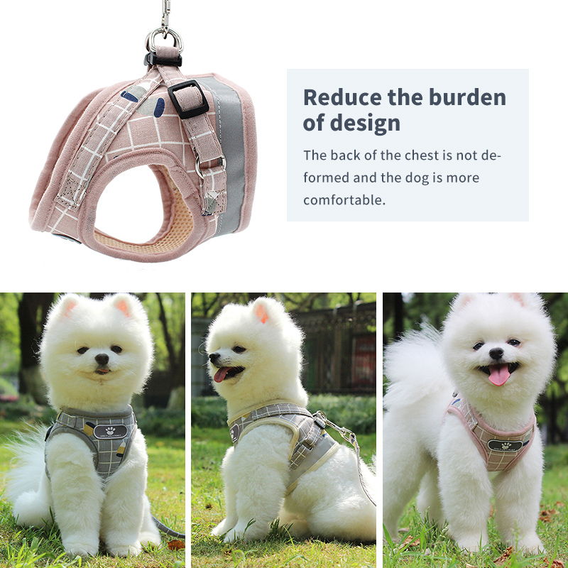Pet Dog Cat Harness with Leash Adjustable Vest Walking Supplies Soft Breathable Plaid Collar Puppy for