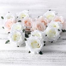 5 шт. искусственные розы белые шелковые искусственные розы цветок Искусственные головки высокого качества DIY Свадебные украшения для дома скрапбукинга аксессуары