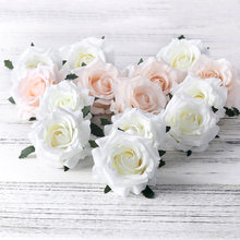 5pcs artificial roses white silk fake roses flower faux heads high quality DIY wedding home decoration scrapbook accessories(China)