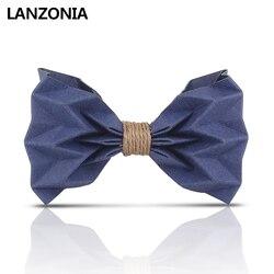 Lanzonia mannen Handgemaakte Bruiloft Bowtie Nieuwigheid Blauw Papier Strikje
