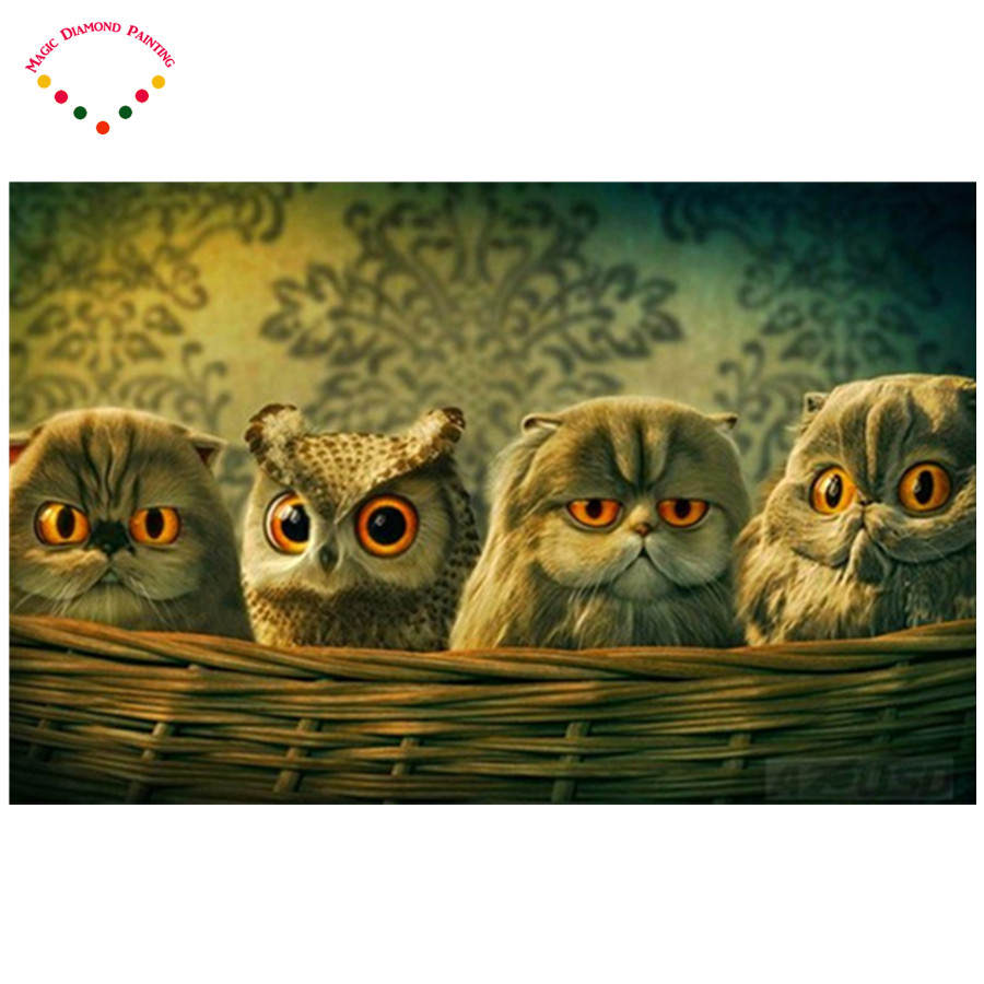 5d diy diamant malerei niedlichen diamant malerei kreuzstich tier diamant stickerei dekoration The cat in the