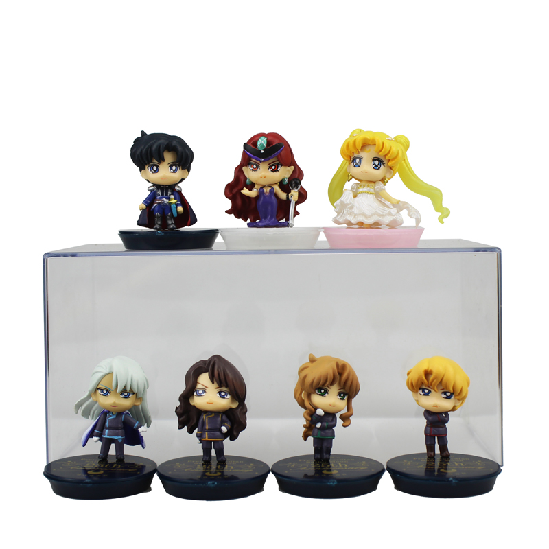 7pcs Cute Mini Pretty Guardian Sailor Moon Anime 25th Anniversary Dark Kingdom Boxed PVC Action Figure Model Doll Toys Gift