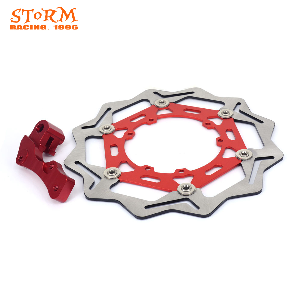 270MM Wavy Front Floating Brake Discs and Bracket For HONDA CR125 CR250 CR250R CRF250R CRF250X CRF450R CRF450X CR CRF 125 250 цена