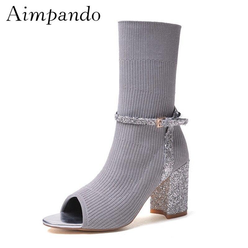 Glitter Knitting Sock Booties Women Sexy Open Toe Buckle Belt Hoof Heel Autumn Winter Ankle Boots