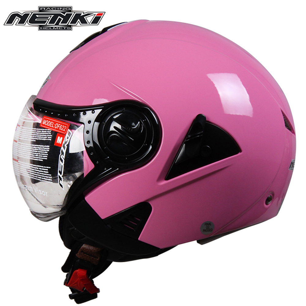 NENKI Electric Motorcycle <font><b>Helmet</b></font> Vintage Style Cruiser Touring Chopper Street Bike Scooter <font><b>Helmet</b></font> with Clear Lens Shield 622