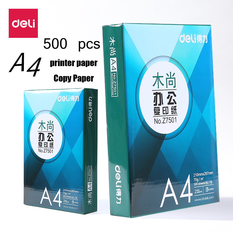 Deli 500Pcs A4 Heat Transfer Paper Inkjet Printers Light Color copy Paper Transfers Photo double side Drawing Paper Ultra Thin